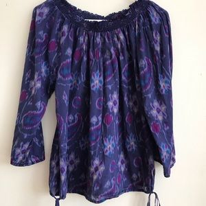 Lucky Brand Boho Paisley Off Shoulder Top Large